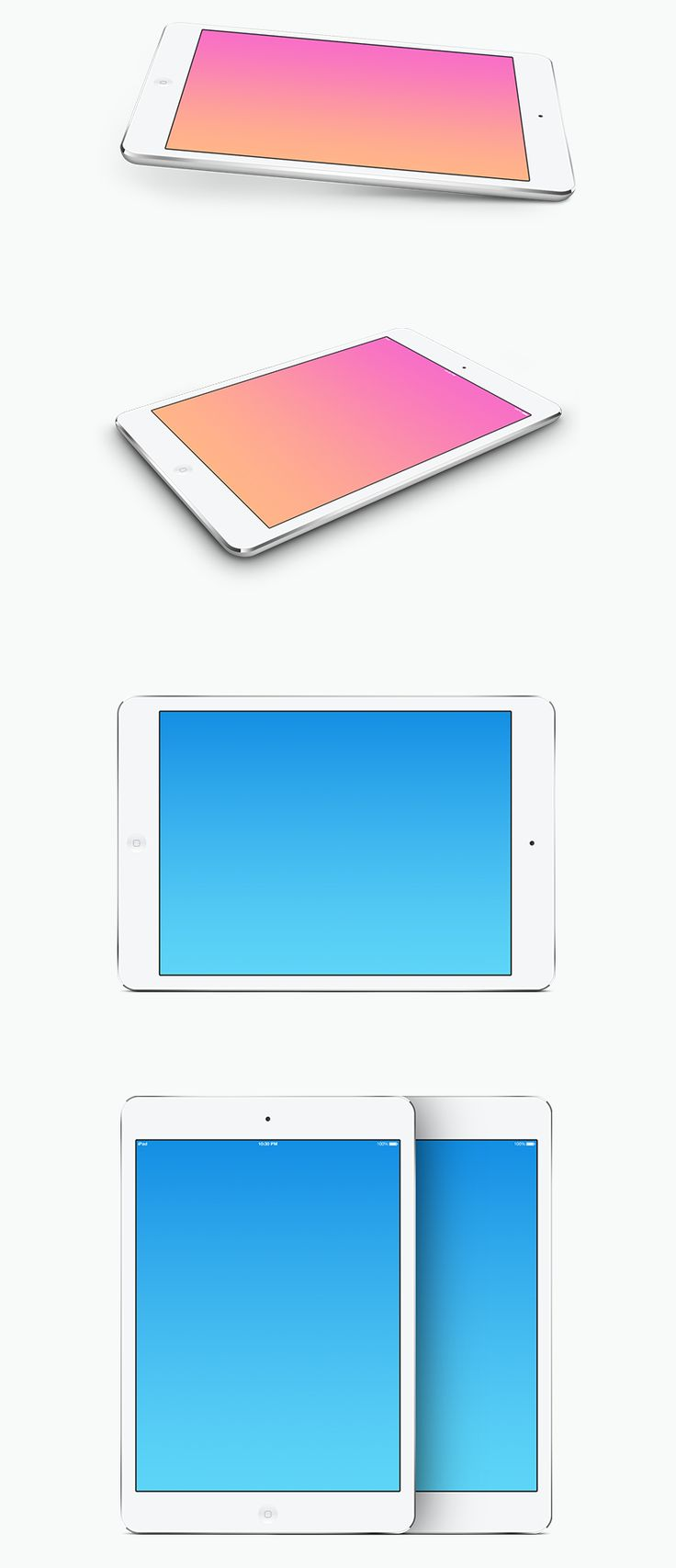 An iPad mini template that is supplied in 5 different mockups, each available with white and black devices. These are fully scalable, vectored PSD template - posted under Freebies tagged with: Display, Free, iPad, iPad mini, Mock Up, Perspective, Presentation, PSD, Resource, Showcase, Tablet, Template, Vector by Fribly Editorial