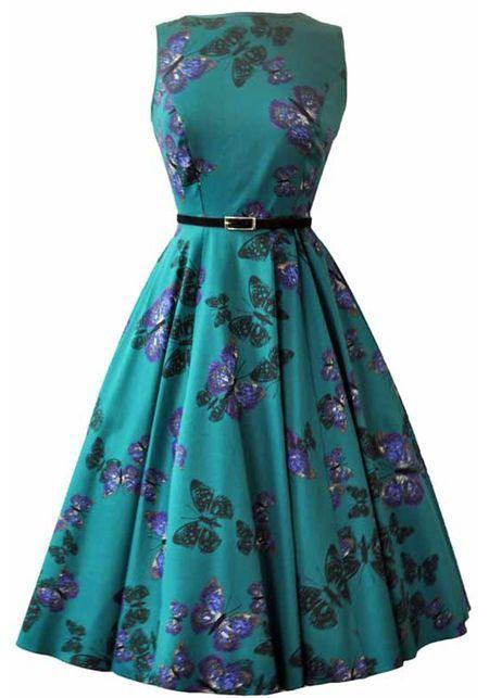 The Teal Green Butterfly Hepburn, Kellomekko - Lady Vintage