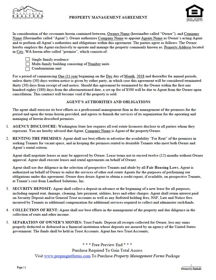 Washington Property Management Agreement Property Management Contract Agreement Management