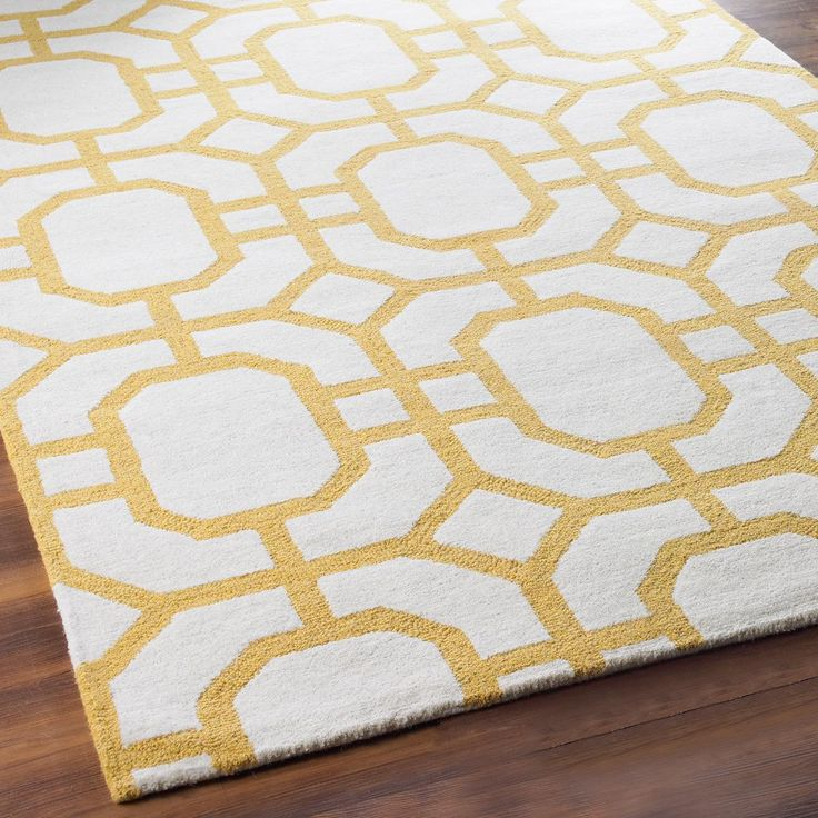 Octagon Trellis In Tufted Wool Rug Ivory Golden Yellow