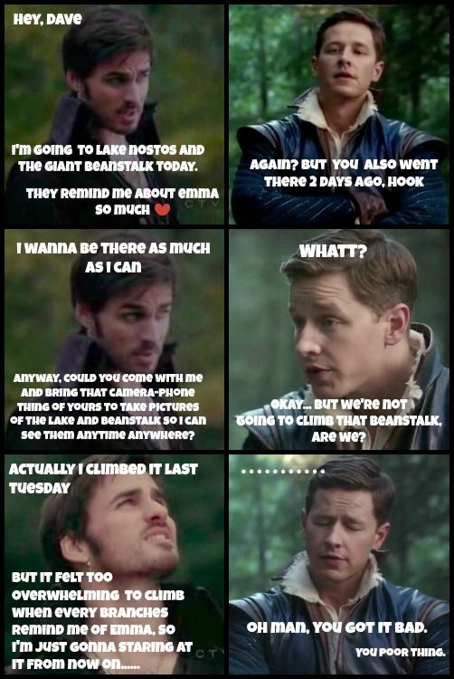 Hook missing Emma badly in Enchanted Forest and annoying everyone about it.