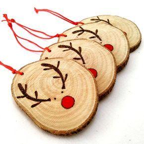 4 rustikale Weihnachten, Rentier Dekoration, Rentier Ornament, Weihnachtsstrümpfe, Baum-Dekor, Tree Ornament, Weihnachtskugel, Weihnachten