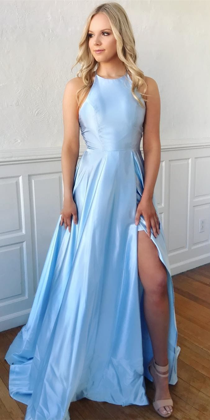 A-Line Crew Backless Sweep Train Light Blue Prom Dress with Split cf053afca