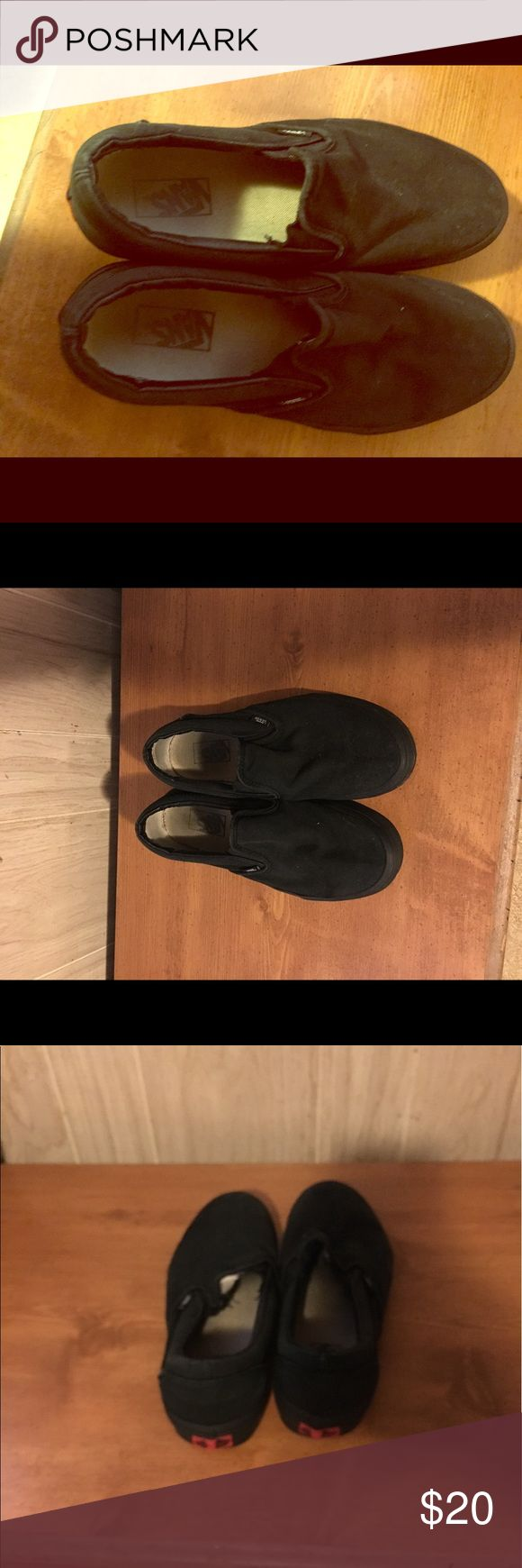 Vans slip on, black, size 10 Vans slip on shoes, black. Size 10. Gently used. Soles are worn, as can be seen in the pictures. May have some scuffs, so please be aware of that prior to purchasing! Bundle to save! Vans Shoes Flats & Loafers