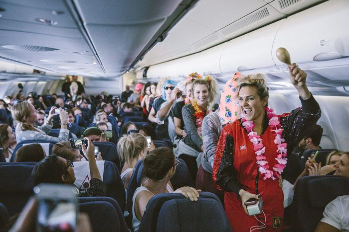 As part of the immersive experience produced by United Kingdom-based Broadwick Live, Bacardi provided all transportation, including chartering three planes to fly in 1,862 guests from New York City, Los Angeles, and London. On board, Bacardi ambassadors kept the atmosphere lively with entertainment, music, and, of course, Bacardi mixed drinks.  Photo: Andrew Whitton