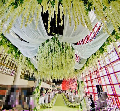 Wedding decoration wisteria silk ceiling decor white for Decoration pictures