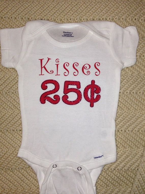 Kisses 25 Cents Valentines Day T Shirt Onsie For Baby Girl Baby