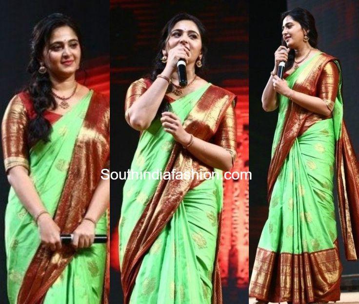anushka shetty green kanjeevaram pattu saree baahubali 2 tamil audio launch