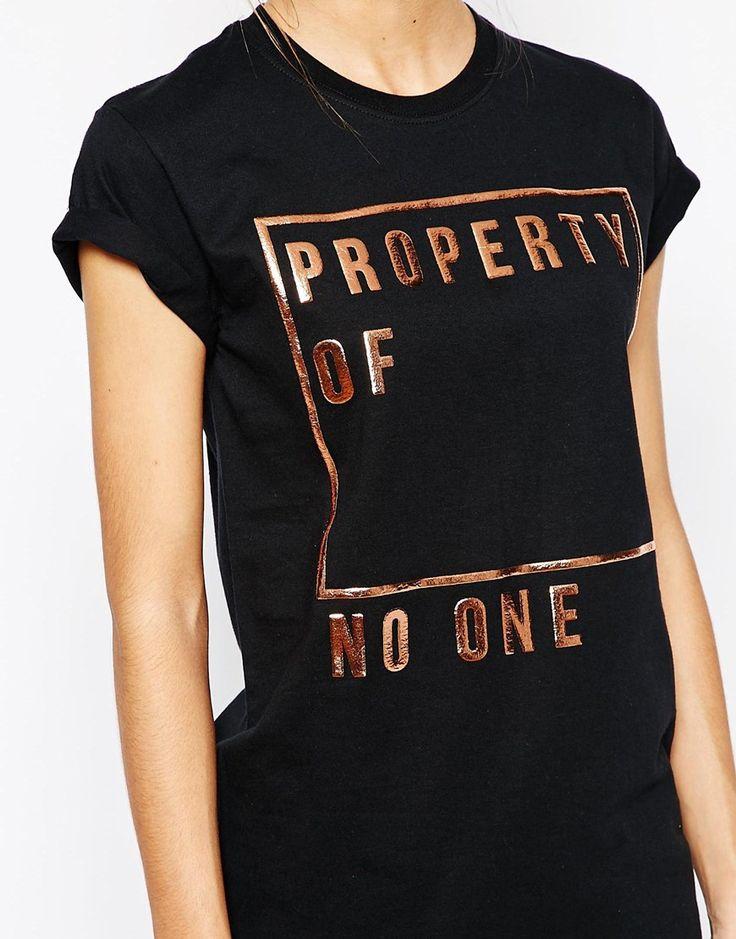 Imagen 3 de Camiseta estilo boyfriend con eslogan Property Of No-One de Adolescent Clothing