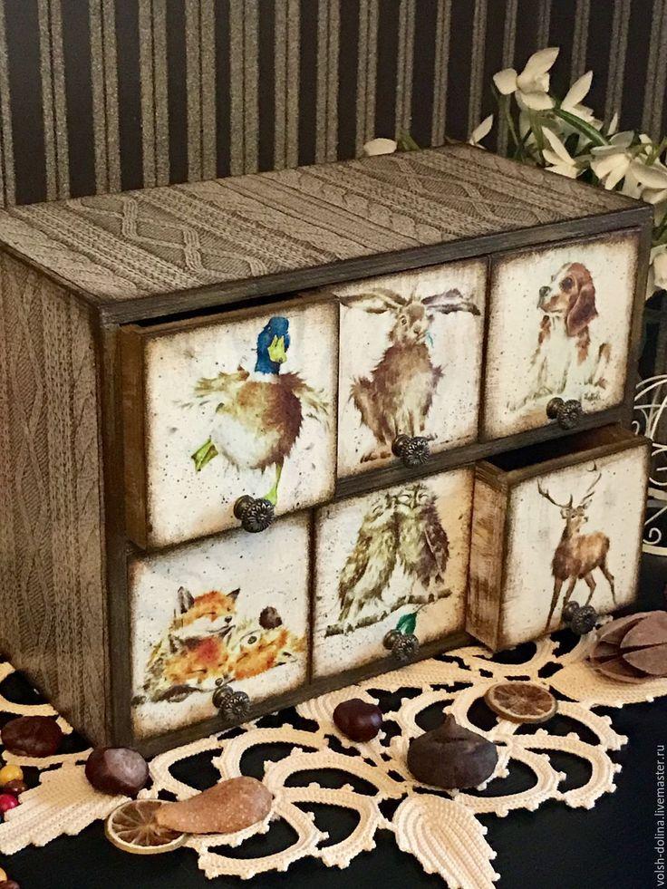 Купить Уютные зверики, мини-комод, декупаж - коричневый, миникомодик, миникомод, мини-комод