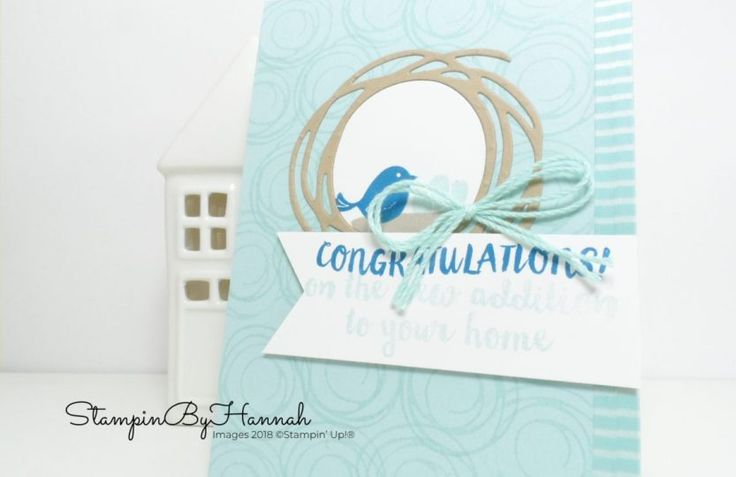 Cute little bird baby card using Swirly Bird from Stampin' Up!