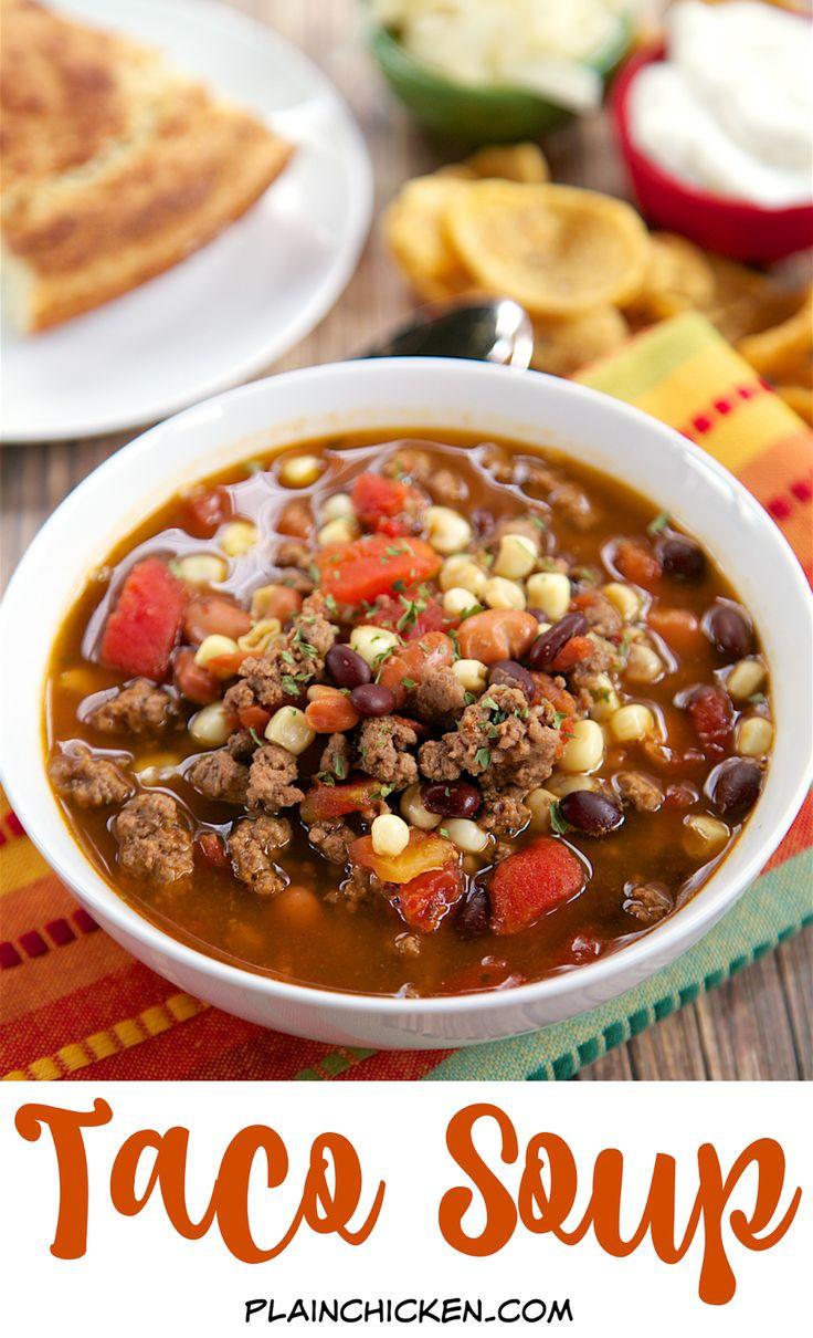 Taco Soup recipe - ground beef, taco seasoning, Ranch seasoning, pinto ...