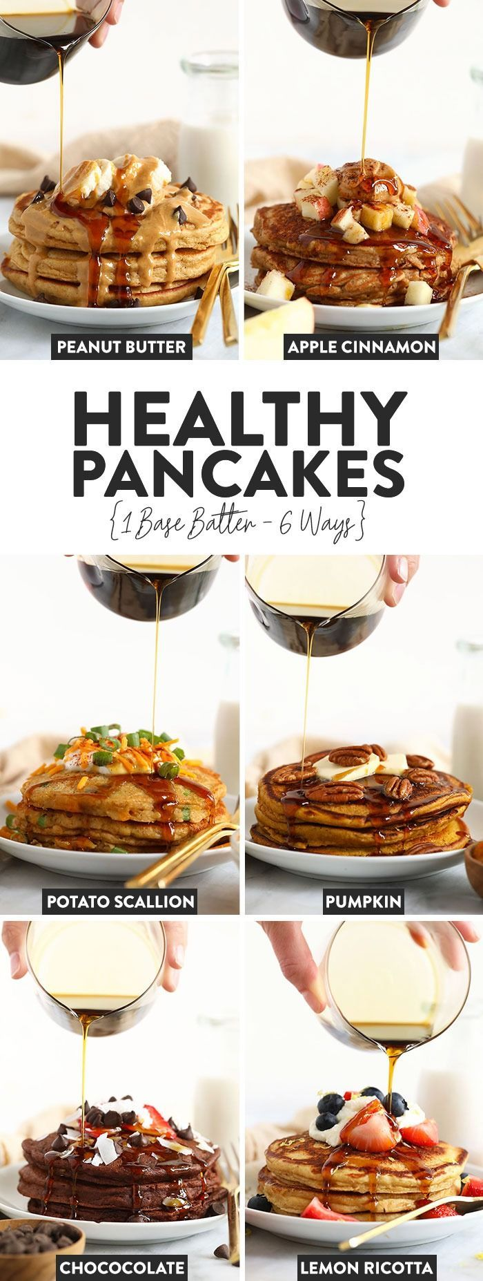 If you love pancakes, add this healthy pancake recipe to the list! This is our favorite pancake base recipe + 6 healthy pancake recipes you can make w...