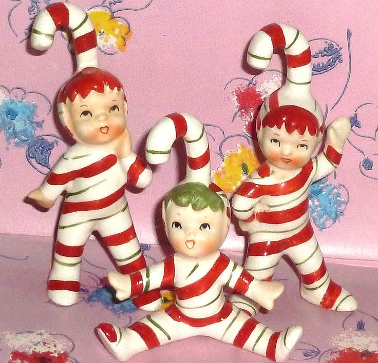 Vintage Lefton Figurines Candy Cane Pixie Christmas Elf Kids