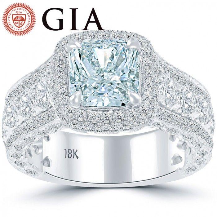 4.81 Carat GIA Certified Fancy Blue Diamond Engagement Ring 18k White Gold - Thumbnail 1