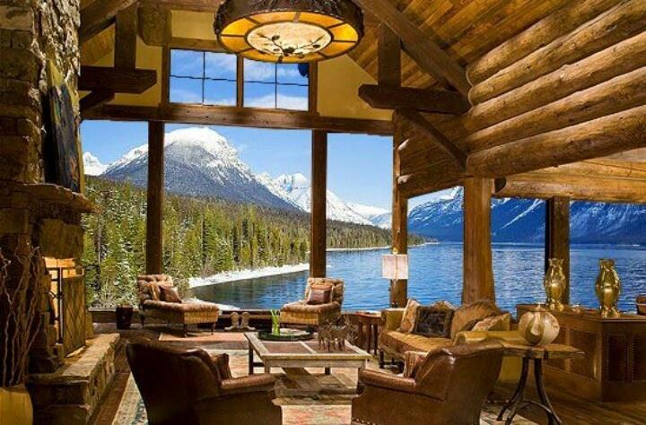 Beautiful log living room