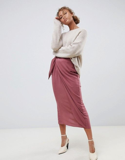 562431e3e8 ASOS DESIGN wrap midi skirt with tie front | ASOS Saved Items, Cute Skirts,