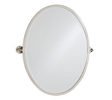 Kensington Pivot Mirror Large Oval Polished Nickel Finish