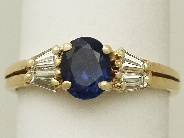 The AC Silver staff love tapering baguette cut diamonds... http://www.acsilver.co.uk/shop/pc/1-16-ct-Blue-Sapphire-and-0-46-ct-Diamond-18-ct-Yellow-Gold-Ring-Vintage-Circa-1980-167p6642.htm