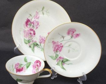 CHINA TEA Trio, 3 Piece Tea Set, Tea Cup Saucer Plate, Sweet Pea China, Bavaria, Germany, Heinrich, Pink Flower, H&Co. Selb, Collectible