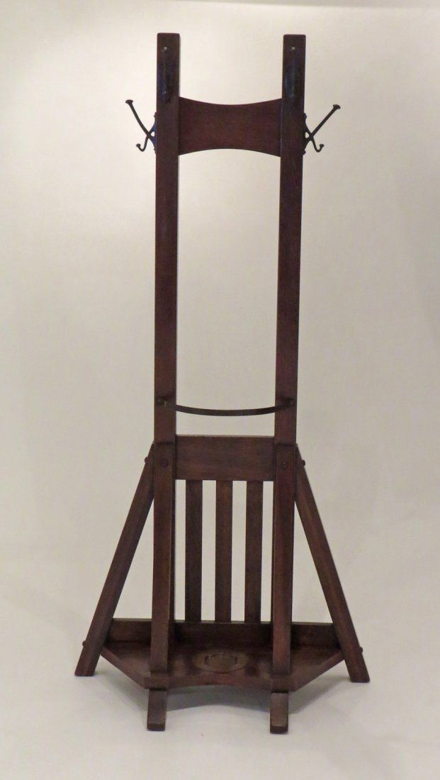 """Lifetime Furniture Company aka Grand Rapids Bookcase  Chair Company   Arts and Crafts   double coatrack and umbrella stand    66.5""""h x 31""""w x 13""""d   These, as this one is, were almost always signed with paper label"""