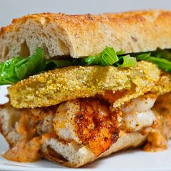 Fried Green Tomato and Shrimp Remoulade Po Boy sandwich.