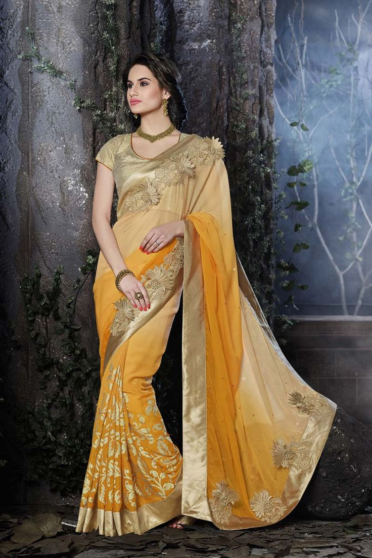 Buy Cream Chiffon Designer Saree Online in low price at Variation. Huge collection of Designer Sarees for Wedding. #designer #designersarees #sarees #onlineshopping #latest #lowprice #variation. To see more - https://www.variationfashion.com/collections/designer-sarees