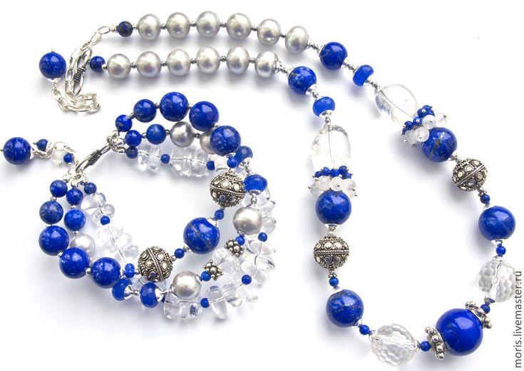 """Купить Браслет """"Лакейша"""", лазурит, жемчуг, серебро... - синий, ярко-синий…"""