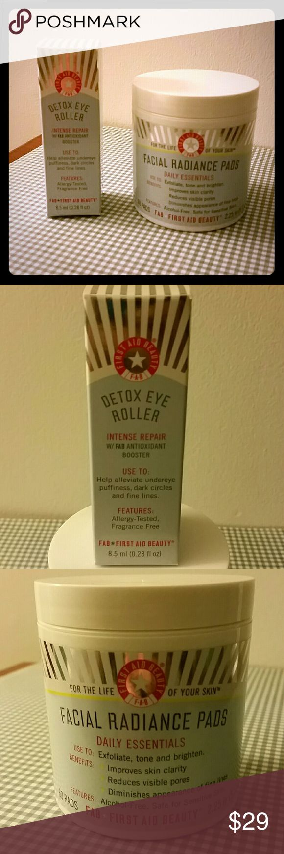 First Aid Beauty Detox Eye Roller + Radiance Pads Brand new, sealed.  Both are full sized and allergy-tested, fragrance free.  The pads are alcohol free and safe for sensitive skin!  Roller is .28 fl oz and 60 pads in the container.  Great reviews on Sephora!! Sephora Other