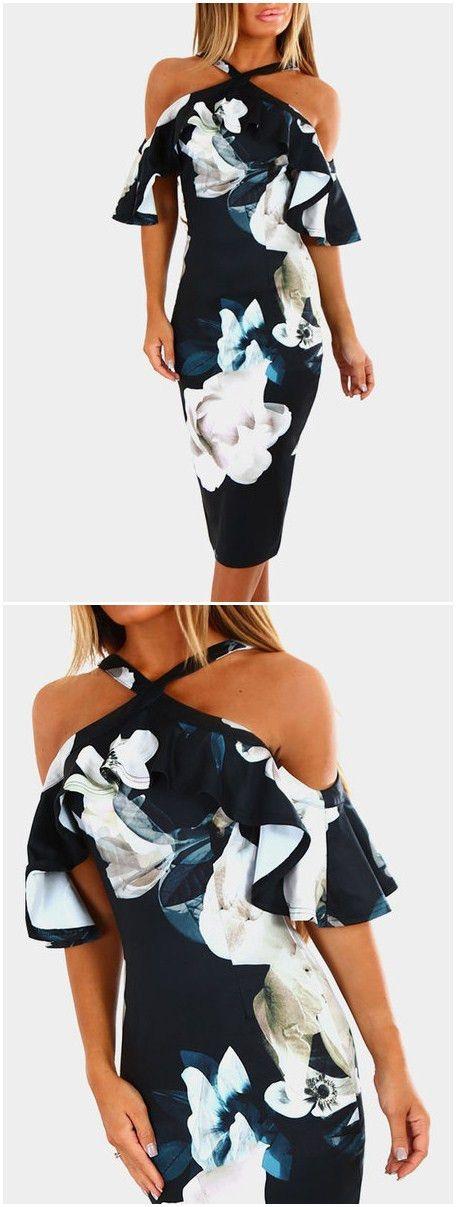 Black Random Floral Print Halter Flounced Sleeves Dress