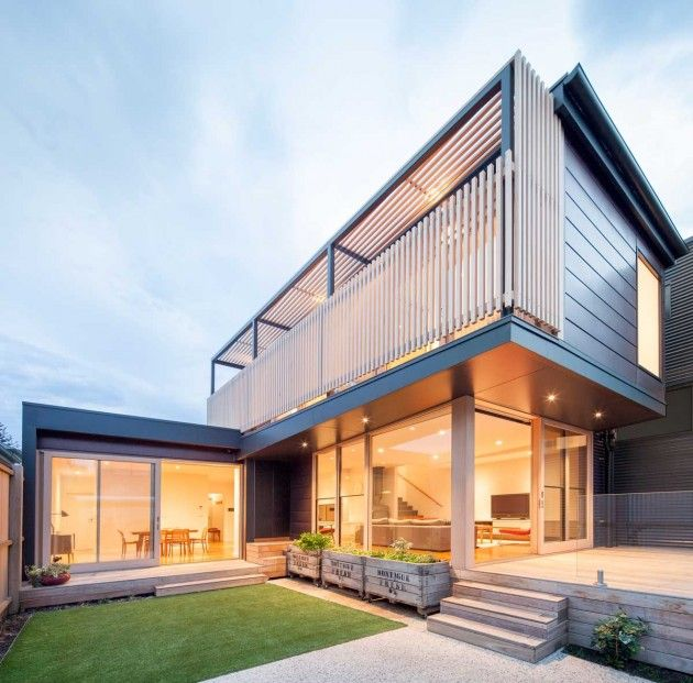 Tim Spicer Architects together with Felicity Dessewffy, have transformed an existing heritage listed home into a two storey contemporary home for a young family. The Chestnut Street house is located in Cremorne, a suburb of Melbourne, Australia.