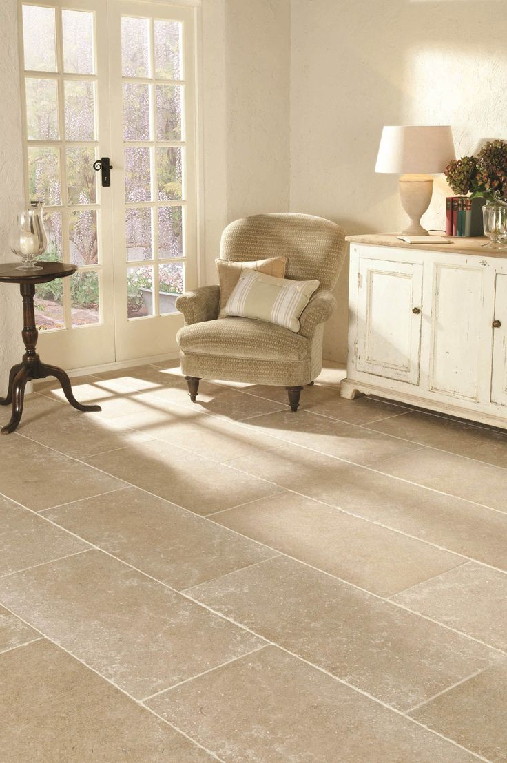 St Sernin tumbled limestone tiles from Original Style's Earthworks range. These large format tiles look great in open spaces.