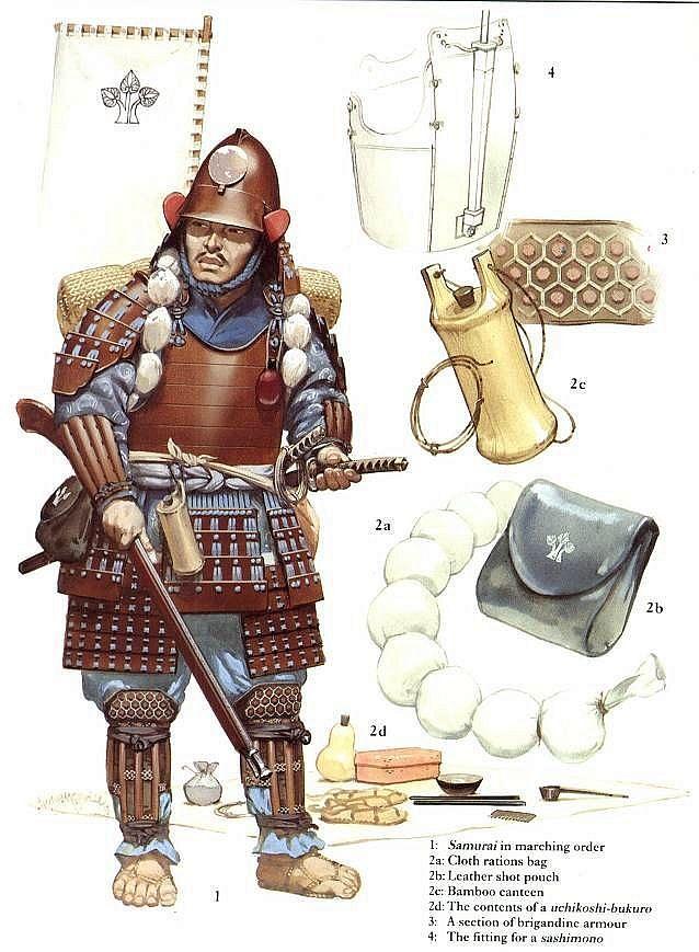 Samurai with matchlock and equipment.