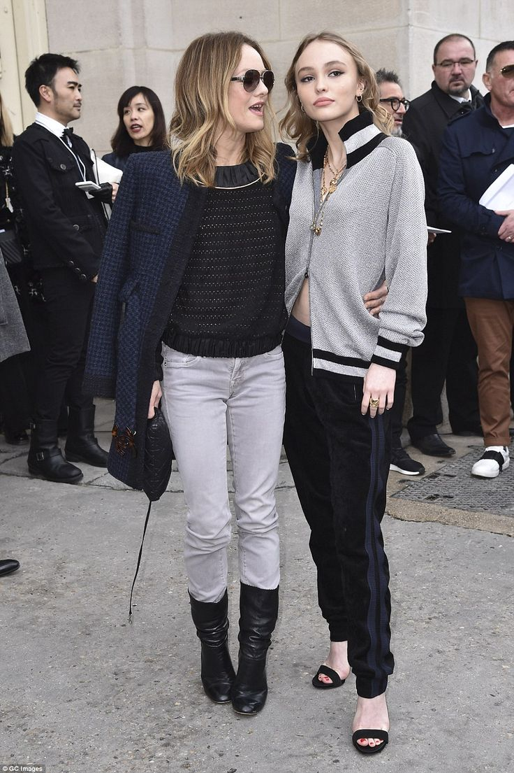 Mother and daughter: They were in good company on the day as Chanel model and actress Vanessa Paradis (left) was joined by her child with Johnny Depp, Lily-Rose  (right)