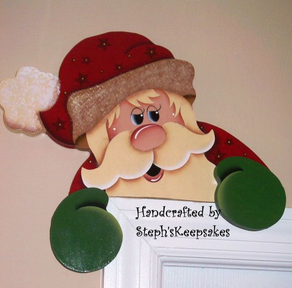 Hand painted Santa Door Hanger by stephskeepsakes on Etsy, $19.95