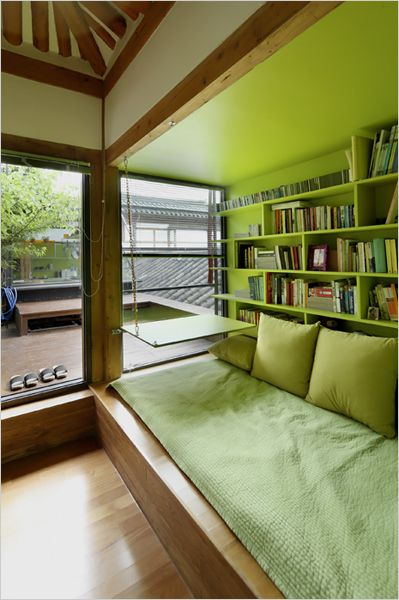 reading nook -Korean Tradition, Italian Style. Love the idea, not so much the colour...