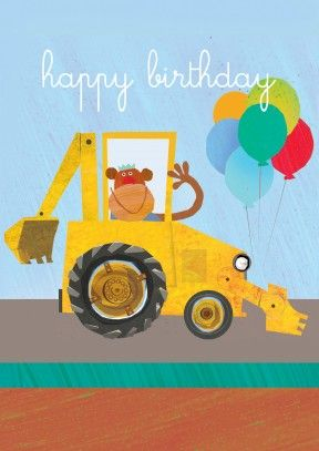 This Backhoe loader Monkey is spreading the birthday cheer. A cute birthday card for your little niece, nephew, brother, sister or grandchild.