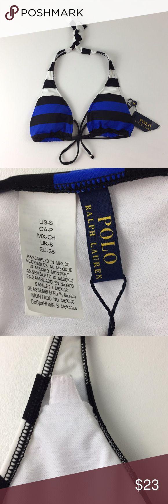 Polo Ralph Lauren Bikini Top.   B1 NWT Polo Ralph Lauren Triangle Bikini Top. Women's Size small. Removable foam padding. Black, blue and white stripes. Back tie has silver bead on the ends. 83% nylon, 17% elastane. Polo by Ralph Lauren Swim Bikinis