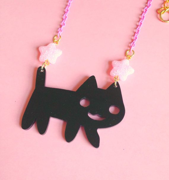 Kawaii Cat Necklace Happy Cat Pastel Pink Glitter by XKawaiiCutieX