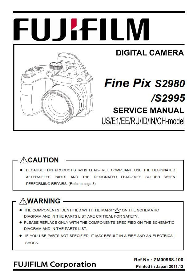 FujiFilm FinePix S2980 S2995 original and complete service manual as