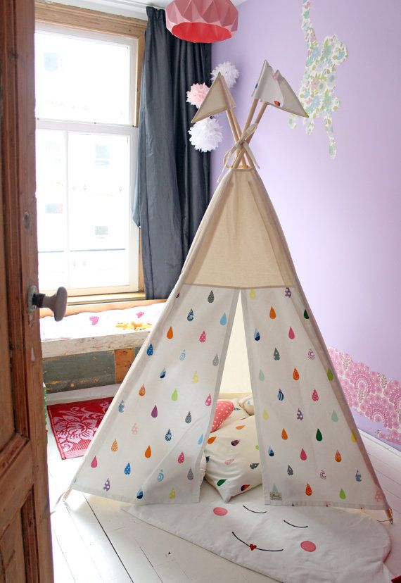 Play Teepee tent Raindrops Print MIDI size by moozlehome on Etsy