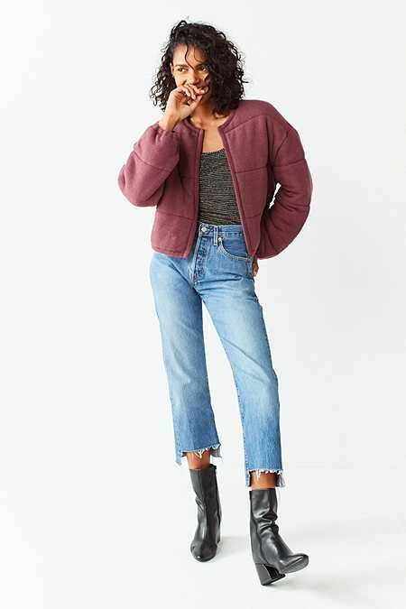 Out From Under Allie Quilted Puffer Cardigan urban outfitters size: medium color: plum
