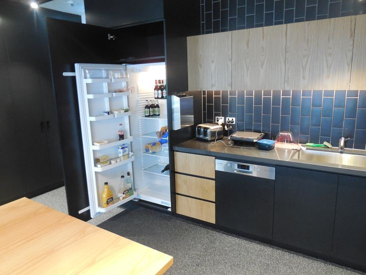 Office kitchen - Stone bench tops and veener drawer fronts and shelving