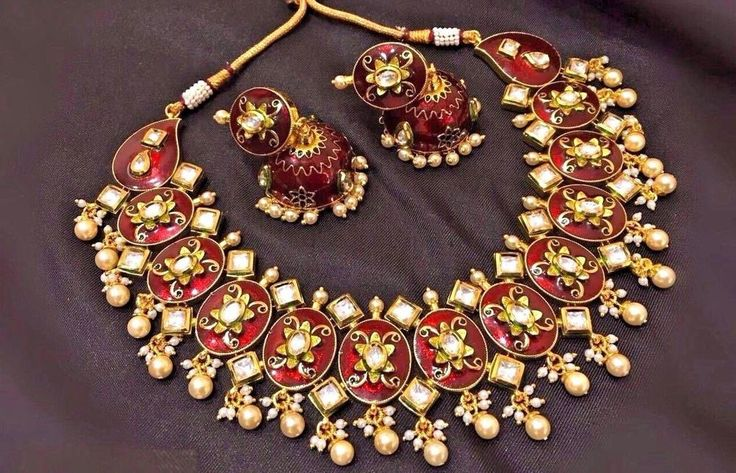 Indian Bollywood Gold Plated Bridal Jewelry Red Enamel Kundan Jewelry Necklace #VIVAJEWLS1
