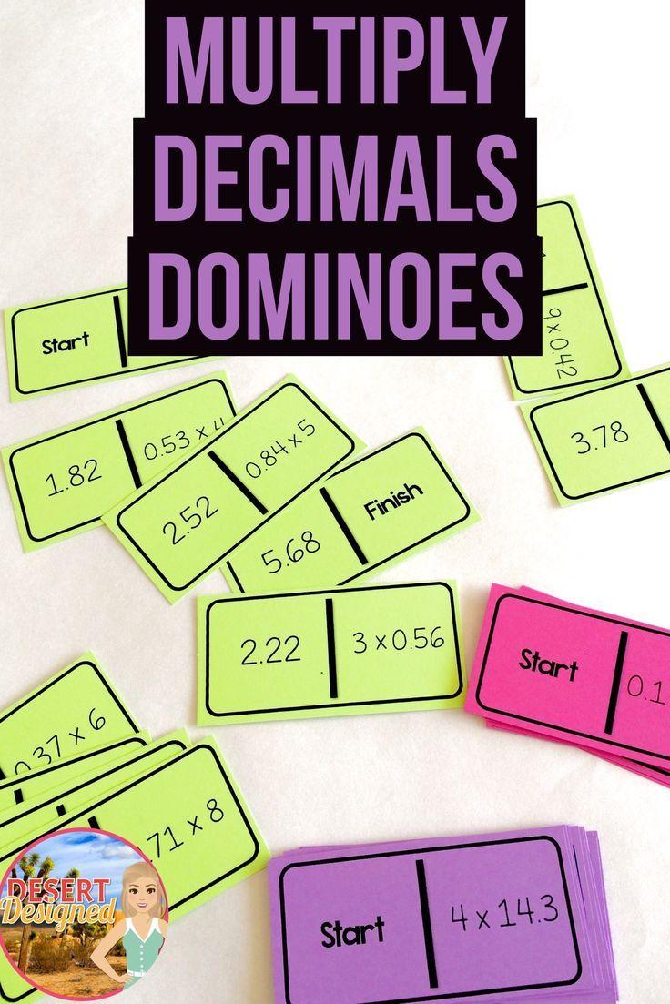 Multiply Decimals Dominoes Fifth grade math, Multiplying
