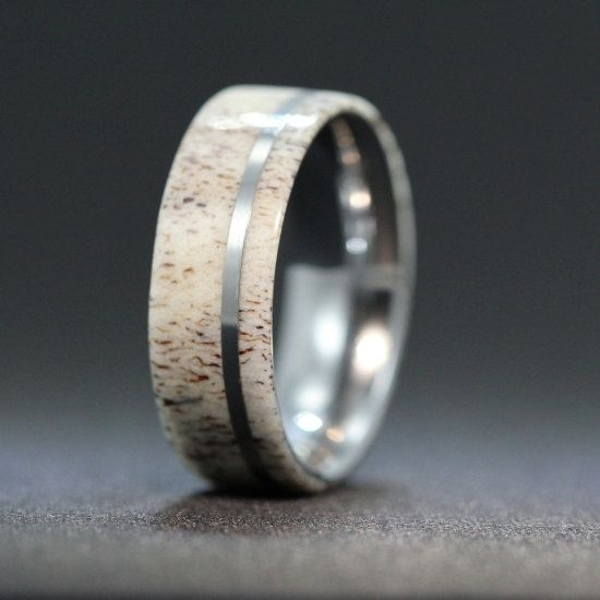 Titanium Ring inlaid with Deer Antler Inlay by jewelrybyjohan, $299.00