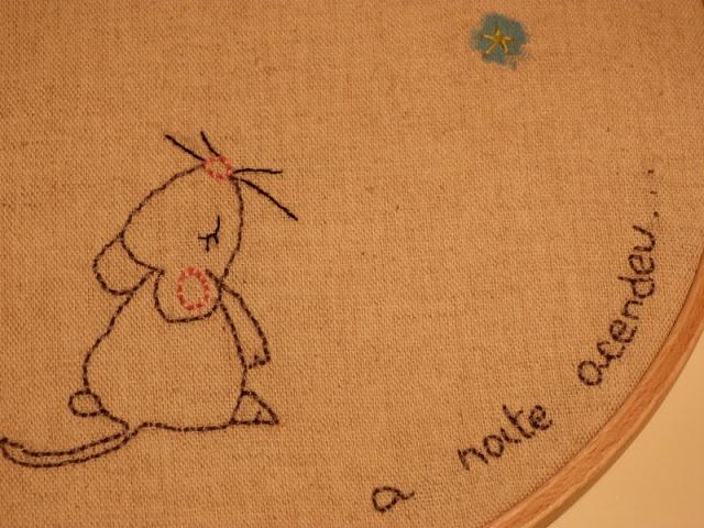 embroidered hoop art little mouse Mário Quintana