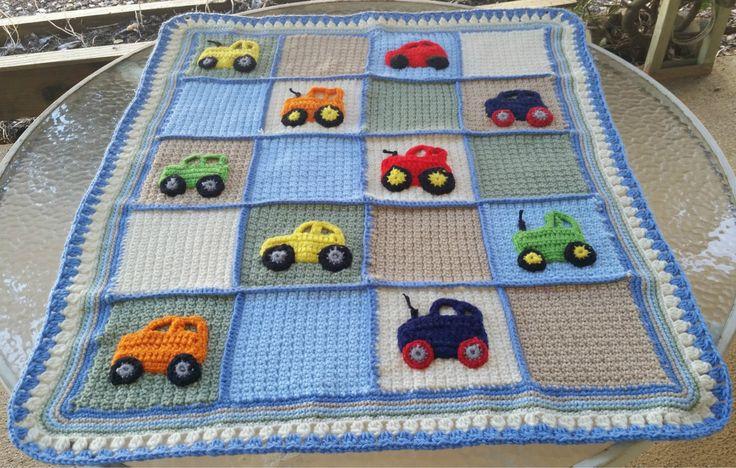 crochet baby blanket, crochet boy blanket, crochet blanket, truck applique, car applique, tractor applique, boy shower, bedding, nursery, by GrammysCustomBlanket on Etsy