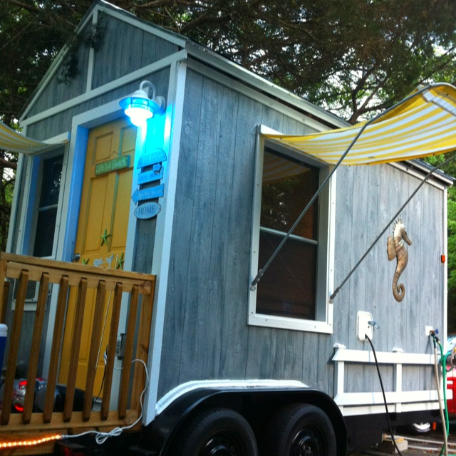 DIY project that my husband and I built, it's a house or we use it as a camper on wheels! We can take our little home with us whenever or wherever we want!
