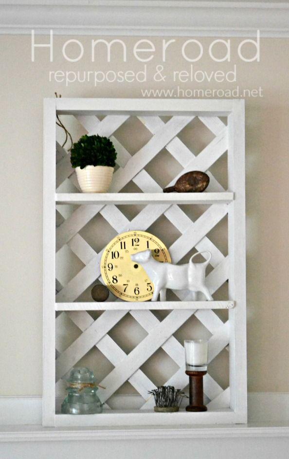 How to Build a Rustic Lattice Backed Display Shelf www.homeroad.net